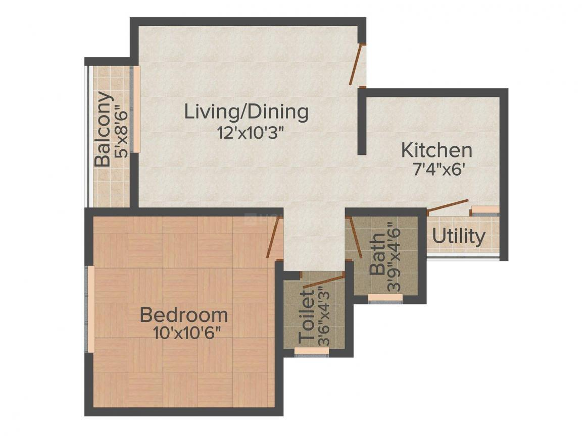 Floor Plan Image of 530.0 - 835.0 Sq.ft 1 BHK Apartment for buy in Falco Hillshire