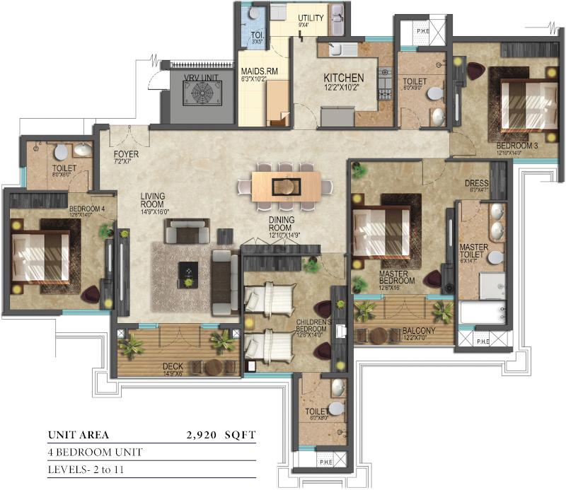Prestige Leela Residences Floor Plan: 4 BHK Unit with Built up area of 2920 sq.ft 1