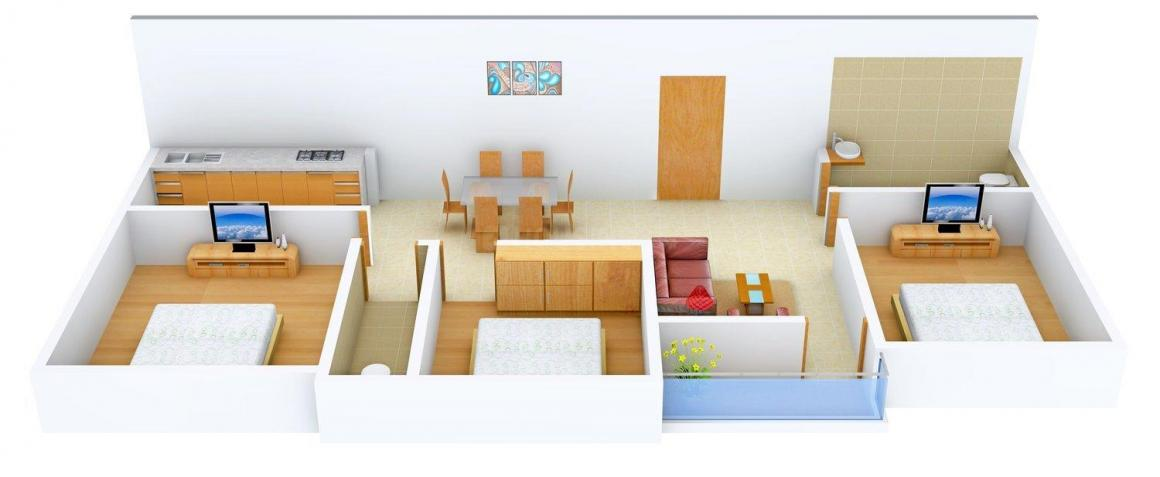 Floor Plan Image of 1235 - 1435 Sq.ft 3 BHK Apartment for buy in Samridhi Sai Palace