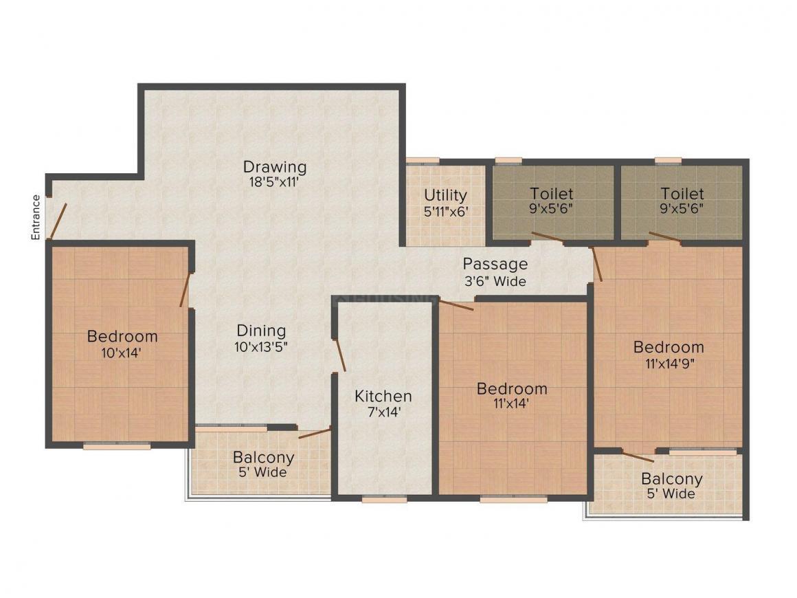 Floor Plan Image of 0 - 1539 Sq.ft 3 BHK Apartment for buy in Vijaya Daffodil
