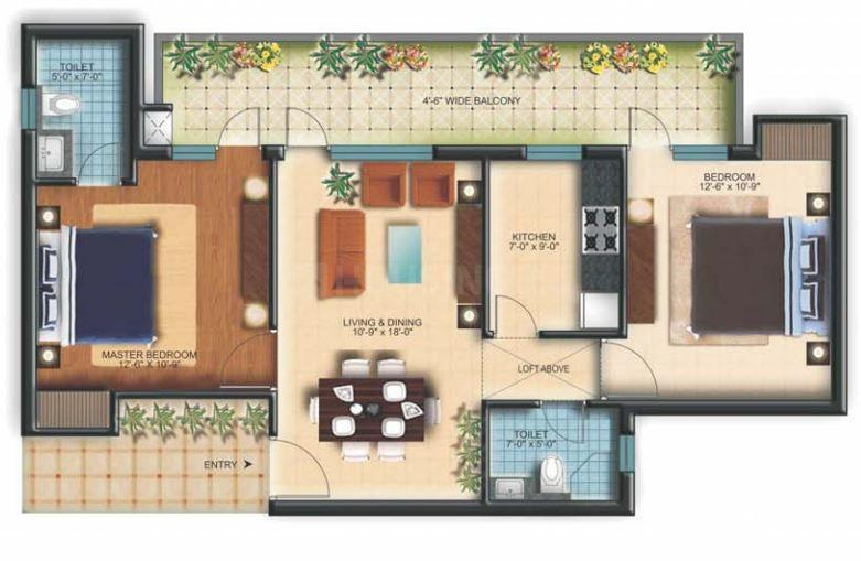 TDI Espania Royale Heights Floor Plan: 2 BHK Unit with Built up area of 1075 sq.ft 1