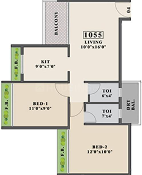 Tricity Promenade Floor Plan: 2 BHK Unit with Built up area of 679 sq.ft 1