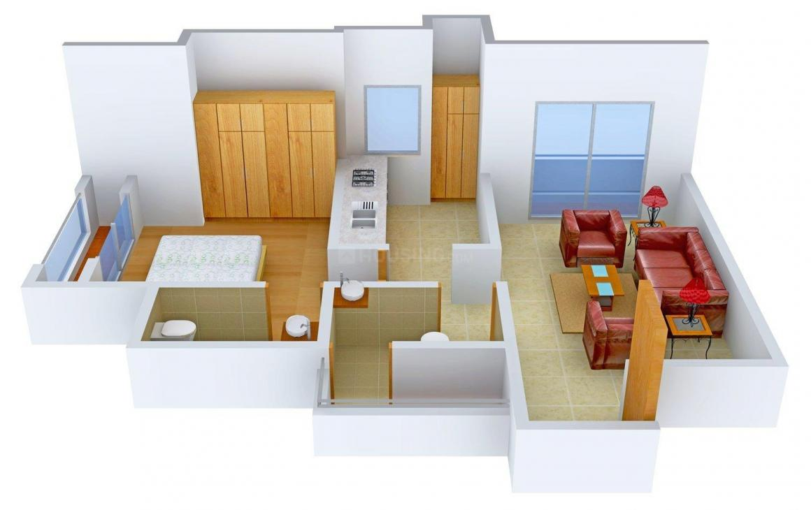 Floor Plan Image of 750.0 - 930.0 Sq.ft 1 BHK Apartment for buy in SSM Periwinkle Complex