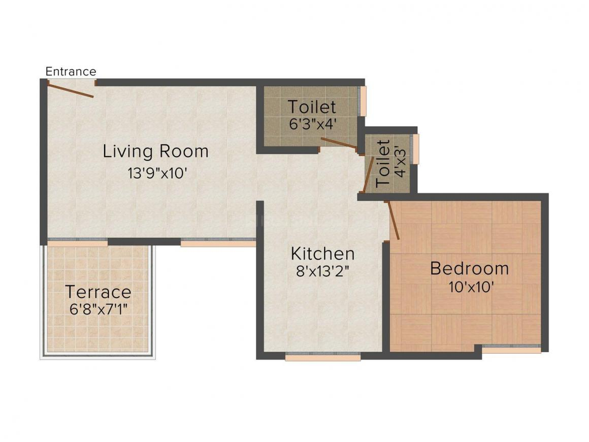 Anand Aashray Floor Plan: 1 BHK Unit with Built up area of 650 sq.ft 1