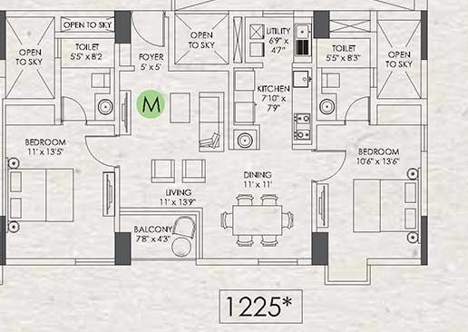 Appaswamy Clover By The River Floor Plan: 2 BHK Unit with Built up area of 1225 sq.ft 1