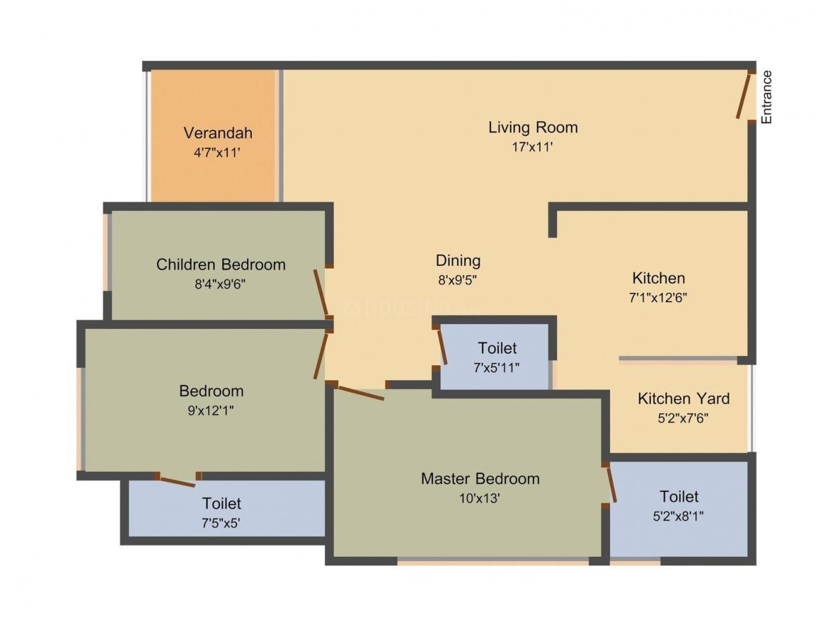 Vinayak Sivanta Hills Floor Plan: 2 BHK Unit with Built up area of 1613 sq.ft 1