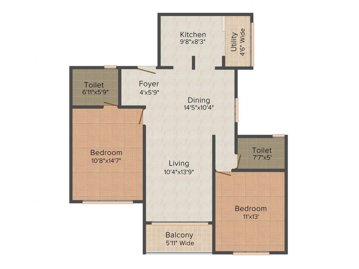 Floor Plan Image of 1205.0 - 2077.0 Sq.ft 2 BHK Apartment for buy in UMIYA Sundance Apartments