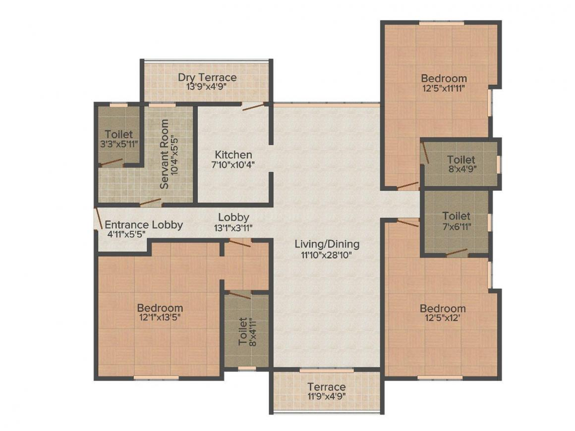 Vascon Willows Floor Plan: 3 BHK Unit with Built up area of 1680 sq.ft 1
