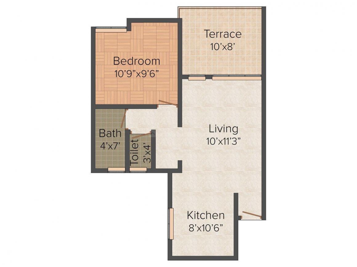 D S Housing Shrushti Floor Plan: 1 BHK Unit with Built up area of 583 sq.ft 1