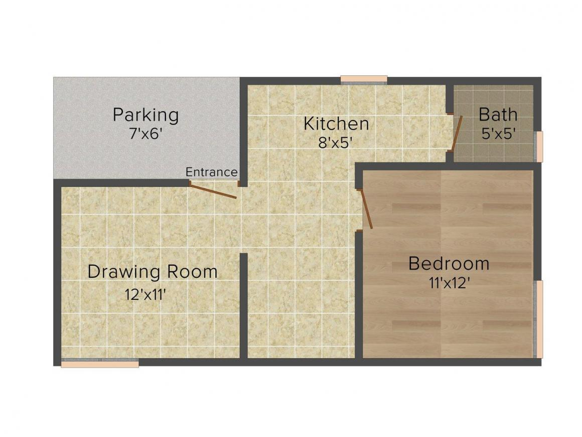 Floor Plan Image of 0 - 635.0 Sq.ft 1 BHK Row House for buy in Senga Enclave 2