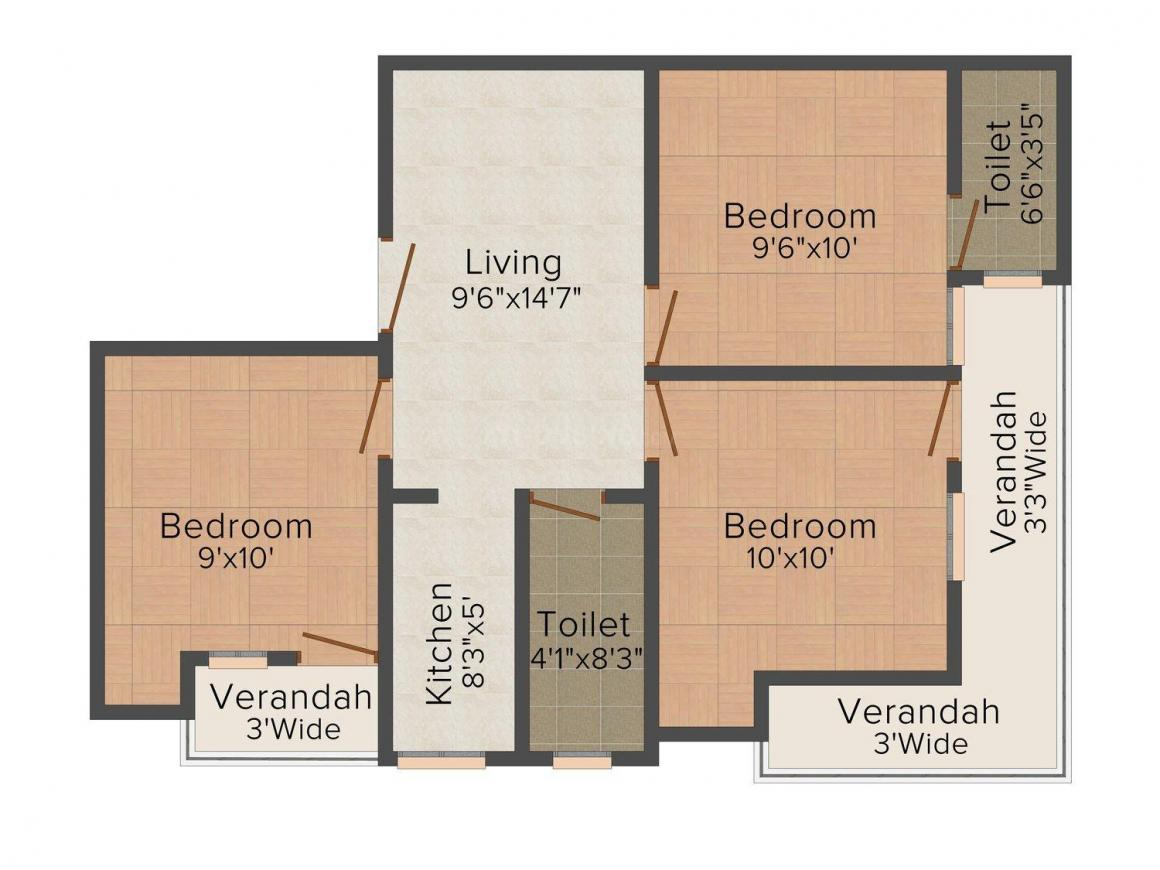 Floor Plan Image of 0 - 630 Sq.ft 3 BHK Independent Floor for buy in Diamond Floor 4