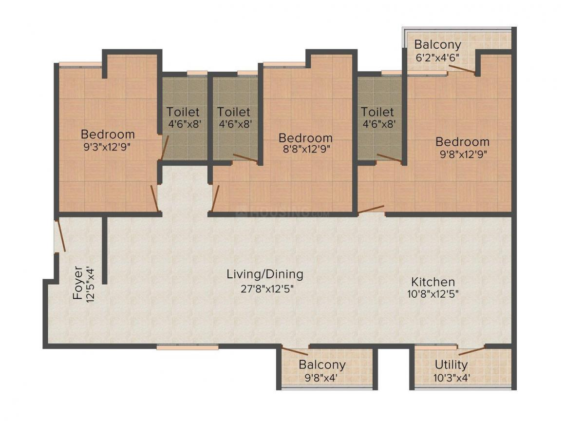 Floor Plan Image of 0 - 1384.0 Sq.ft 3 BHK Apartment for buy in Sanbrix Acrospire