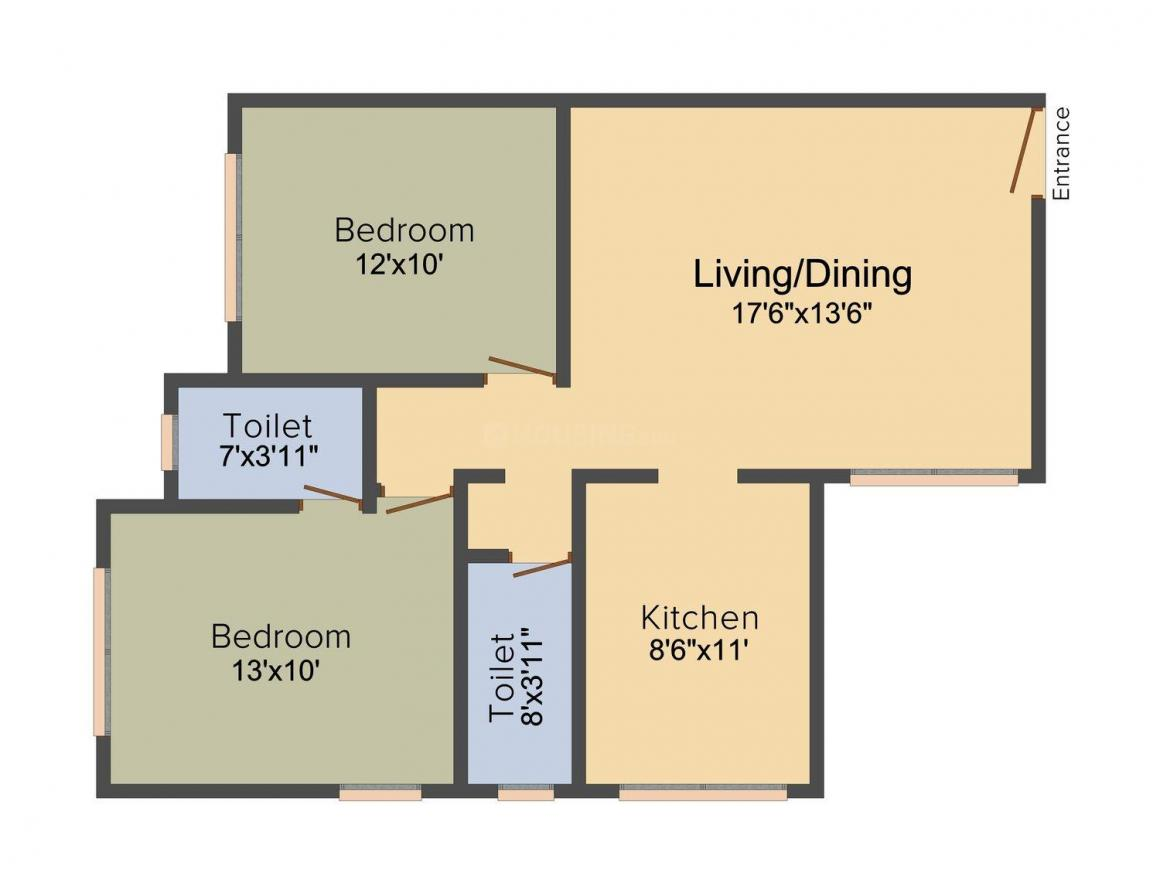 Floor Plan Image of 700.0 - 733.0 Sq.ft 2 BHK Apartment for buy in Paranjape Snehdeep