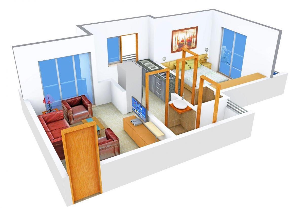 Floor Plan Image of 640.0 - 680.0 Sq.ft 1 BHK Apartment for buy in Samuday Shri Datta Residency