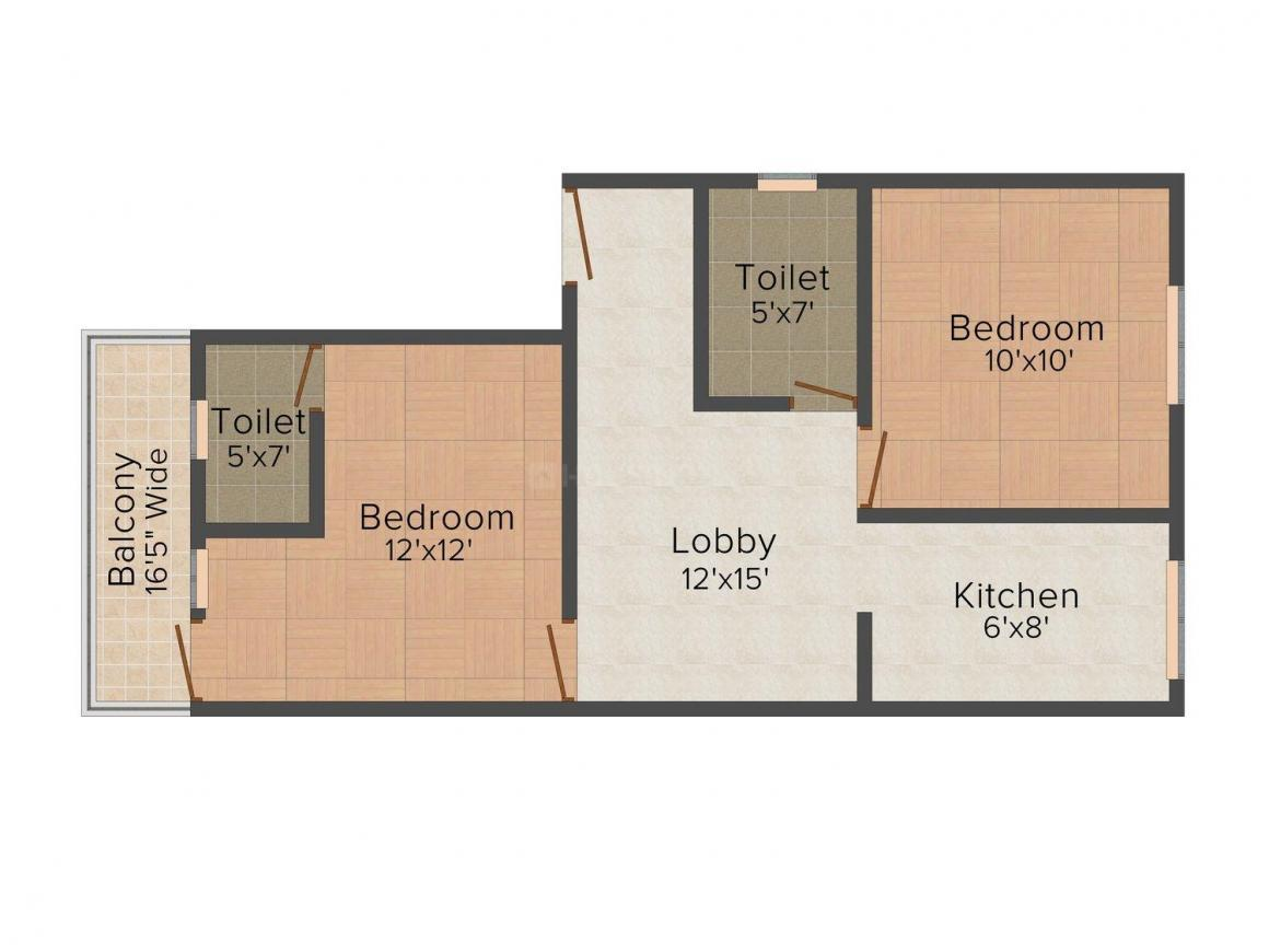 BMR Apartment - 2 Floor Plan: 2 BHK Unit with Built up area of 630 sq.ft 1