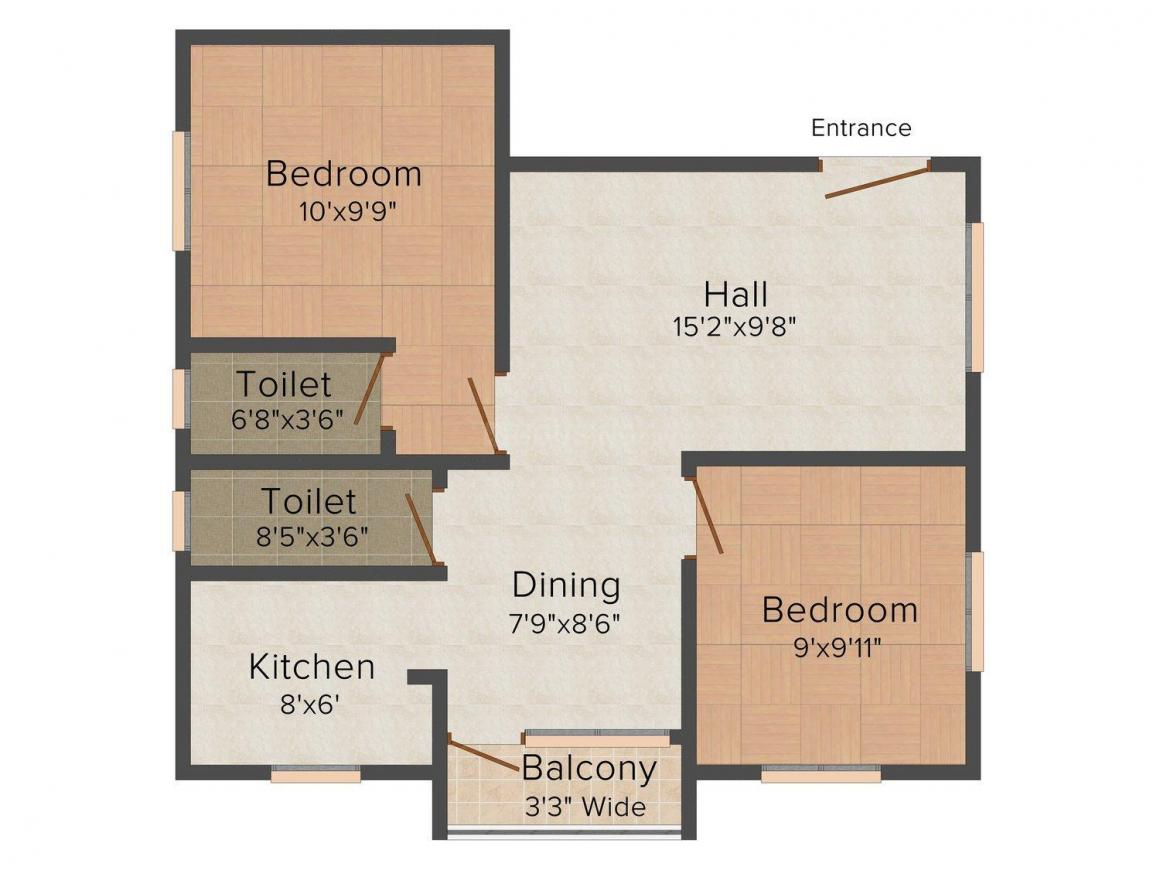 Jana Kamudam Flats Floor Plan: 2 BHK Unit with Built up area of 835 sq.ft 1