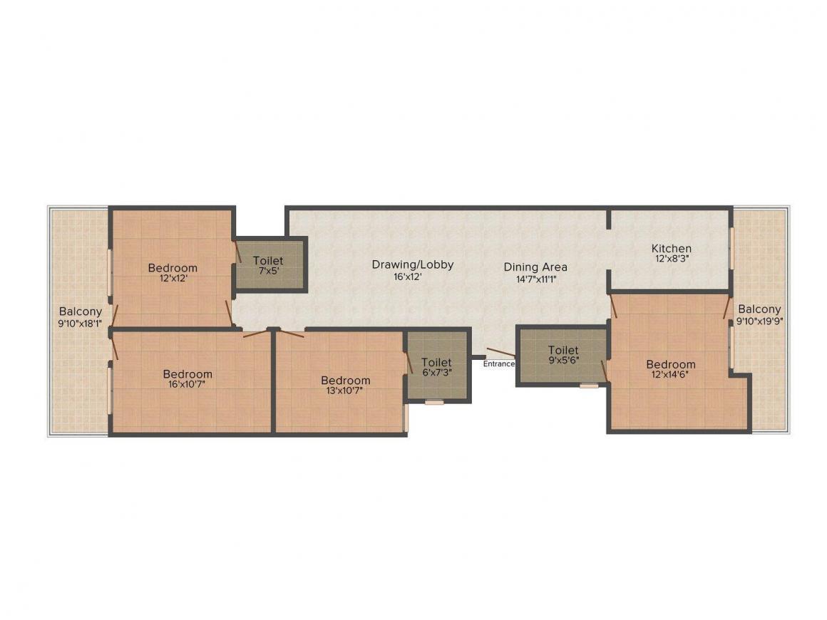 Gupta Ji Dream Home, Block-C Floor Plan: 4 BHK Unit with Built up area of 1500 sq.ft 1