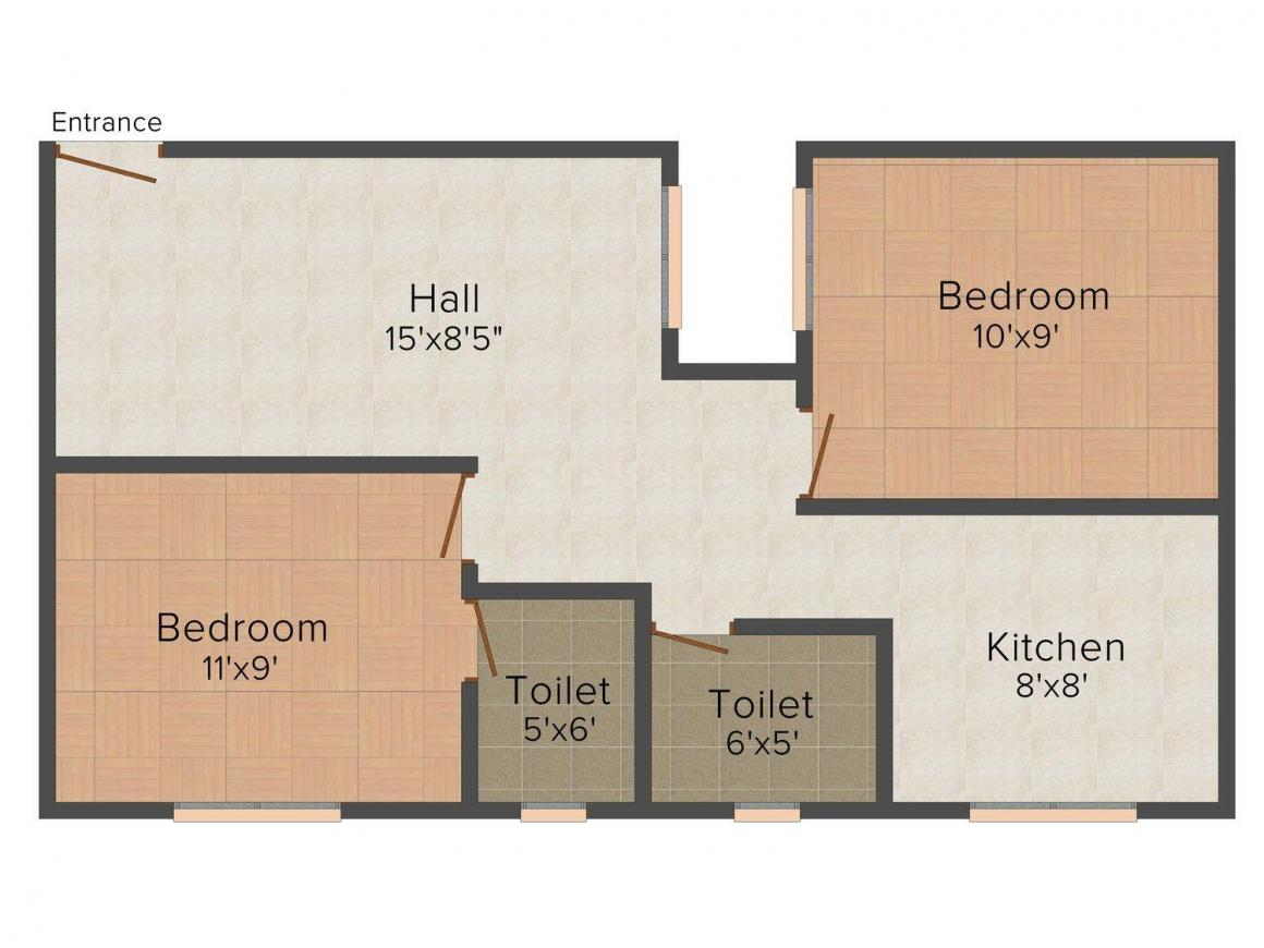 Floor Plan Image of 650 - 1035 Sq.ft 2 BHK Apartment for buy in Building Strawberry Paradise