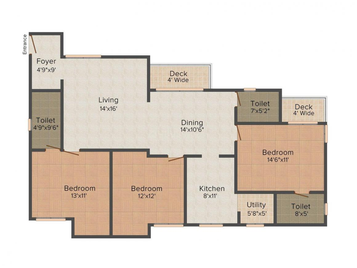 Floor Plan Image of 1527.0 - 1902.0 Sq.ft 3 BHK Apartment for buy in CICC Cool Waters