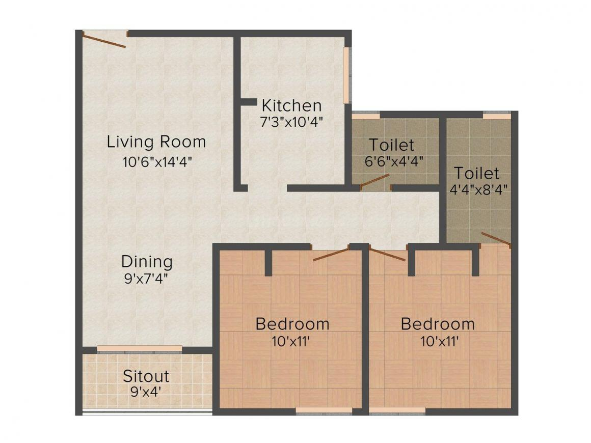 Floor Plan Image of 895.0 - 1115.0 Sq.ft 2 BHK Apartment for buy in RC Woodside