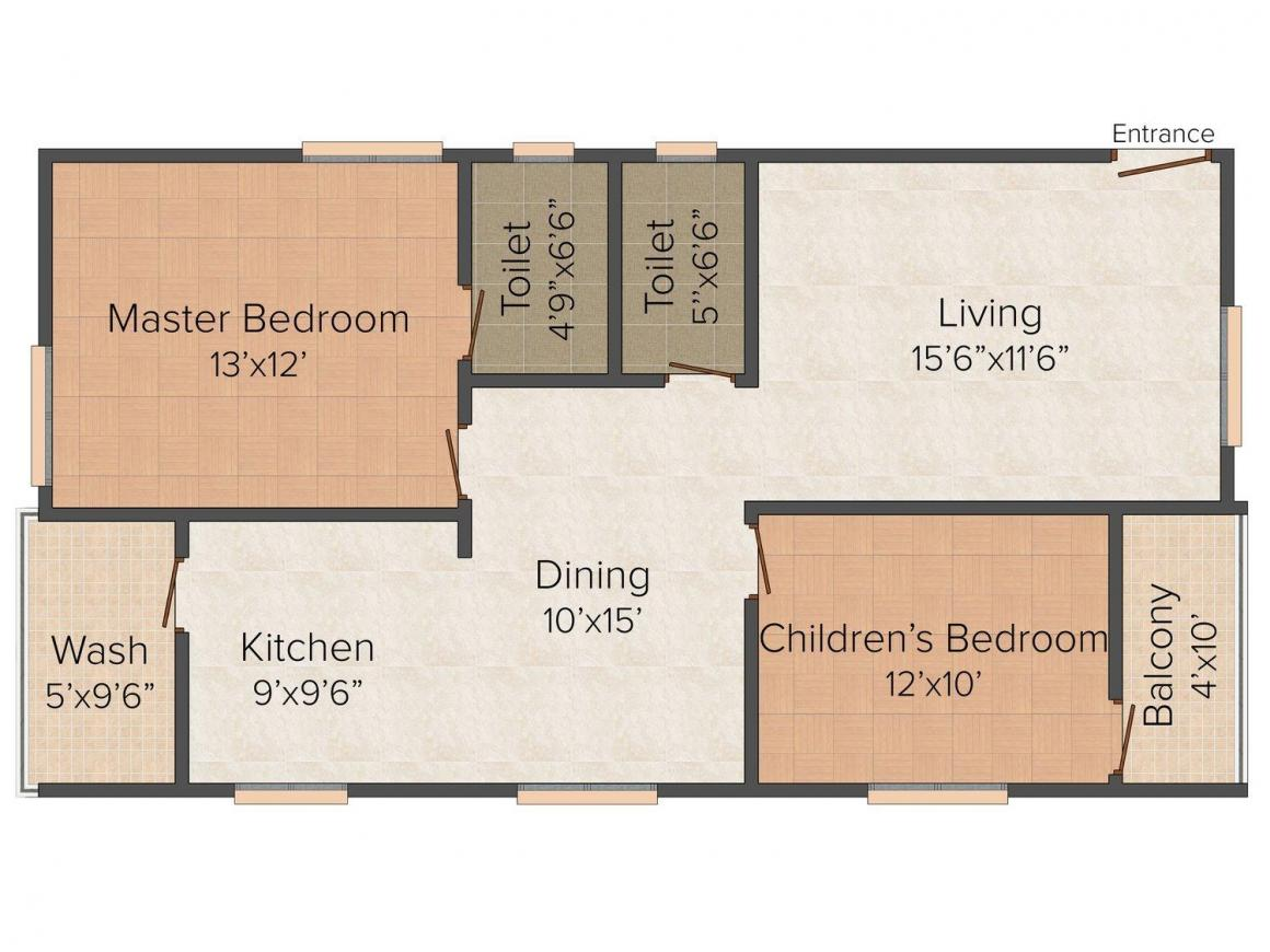 Floor Plan Image of 1165.0 - 1645.0 Sq.ft 2 BHK Apartment for buy in AR Cyber Ridge