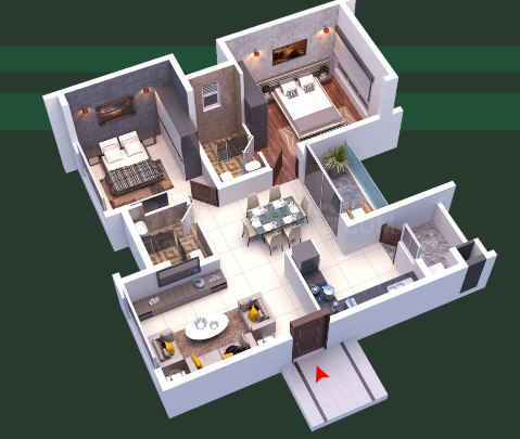 SB Templetree Floor Plan: 2 BHK Unit with Built up area of 1165 sq.ft 1
