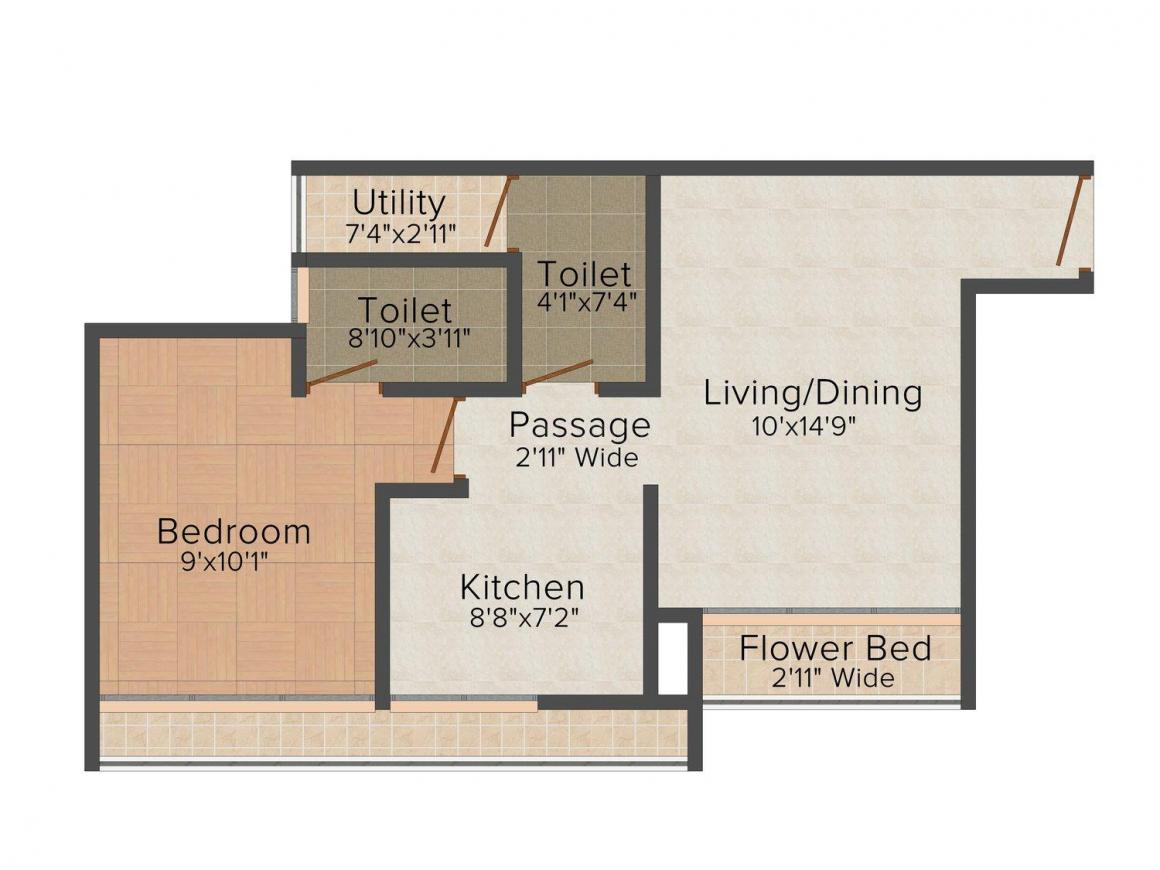 Laxmi Housing AVENUE  D Global City Floor Plan: 1 BHK Unit with Built up area of 675 sq.ft 1