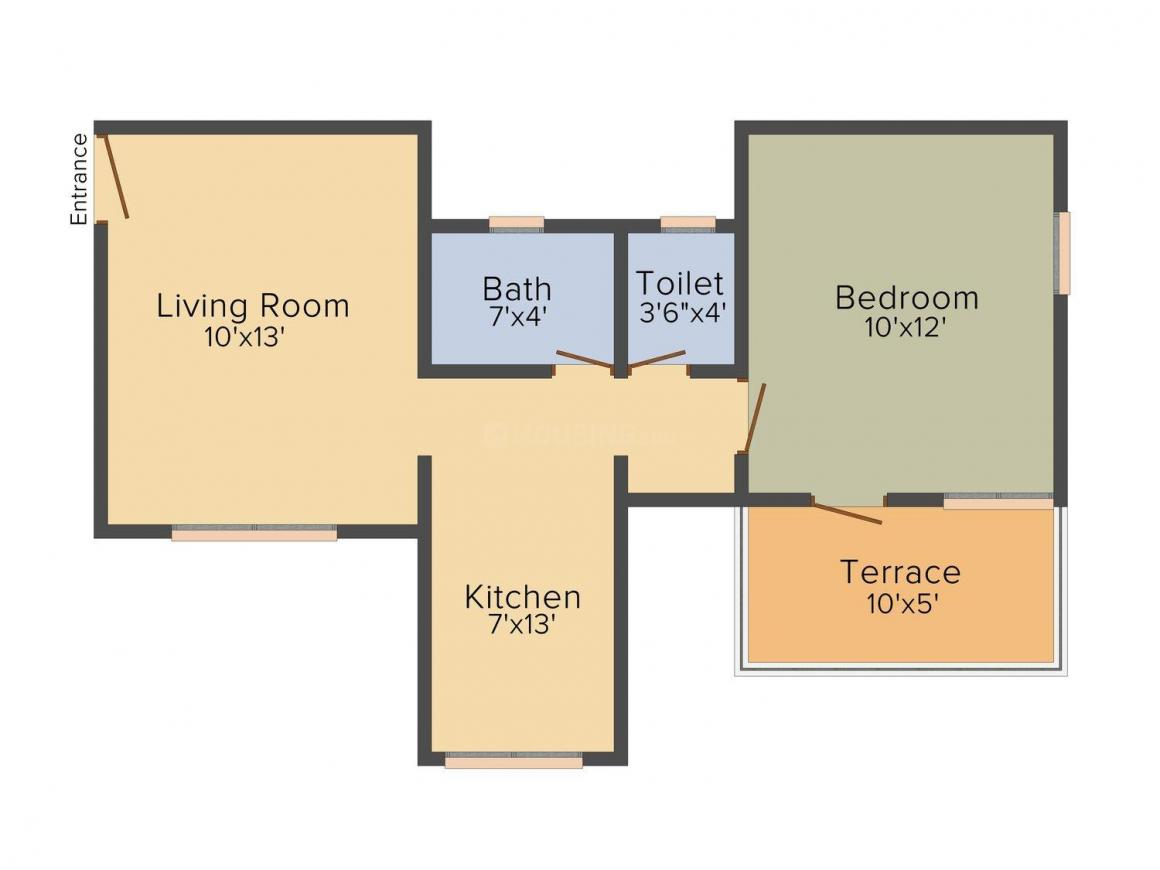 A And A Nisarg Residency Floor Plan: 1 BHK Unit with Built up area of 597 sq.ft 1