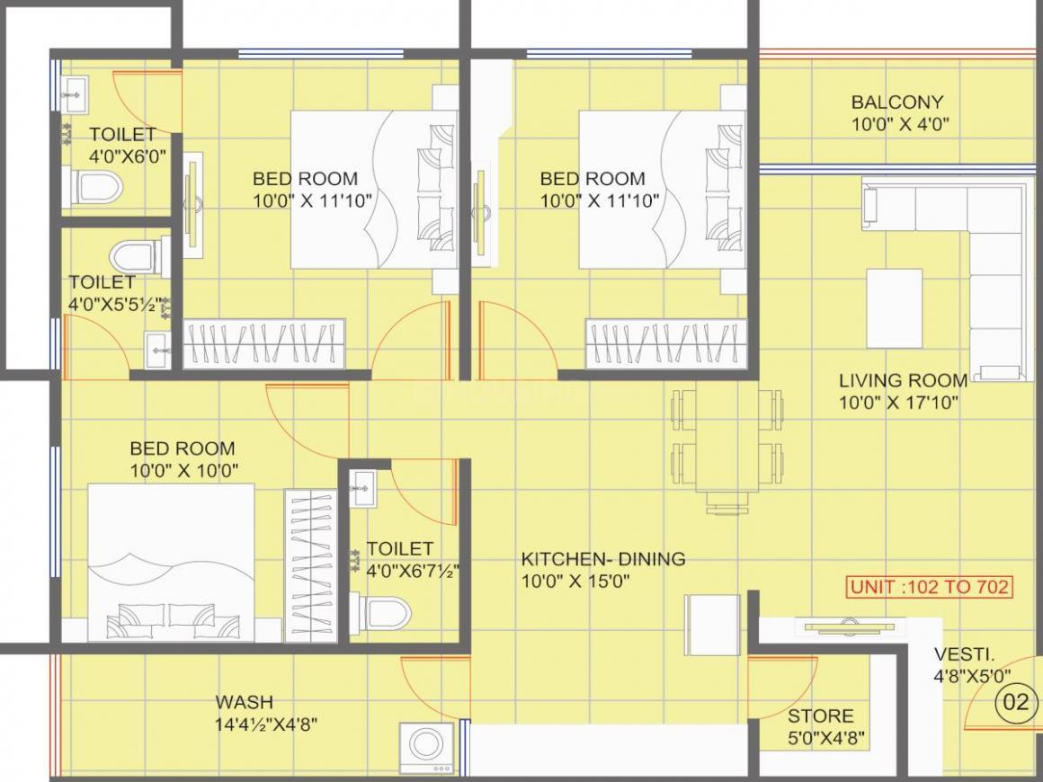 Dhruvi Harikalp Deluxe Floor Plan: 3 BHK Unit with Built up area of 849 sq.ft 1