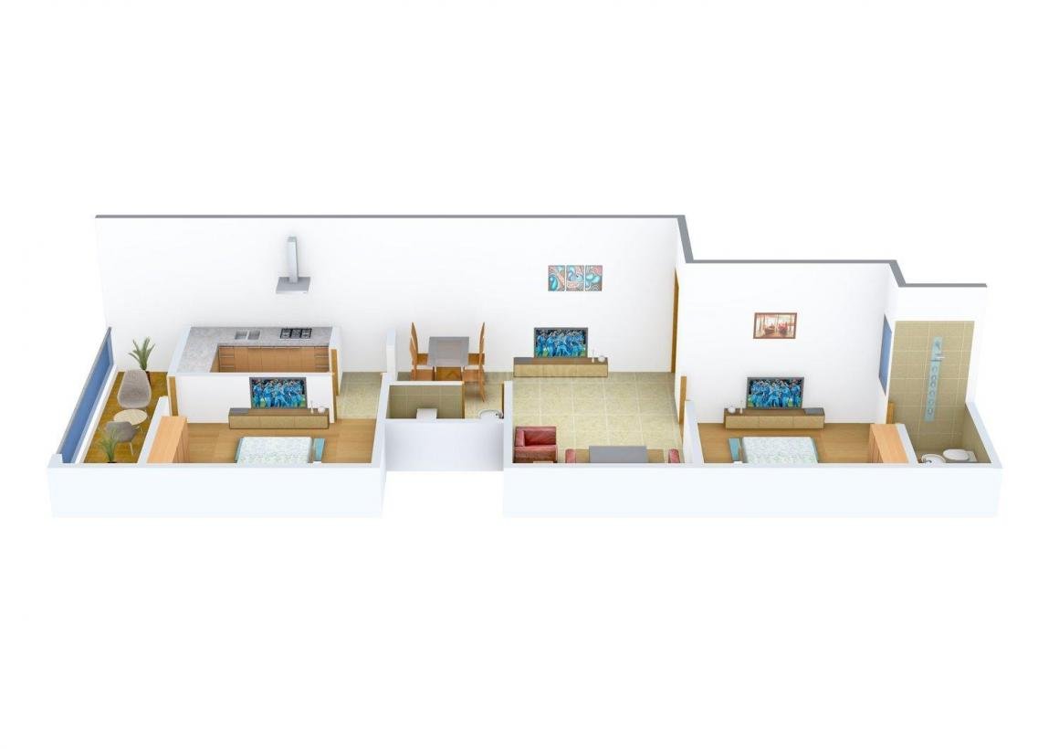 Floor Plan Image of 405 - 763 Sq.ft 1 BHK Apartment for buy in Rising Homes