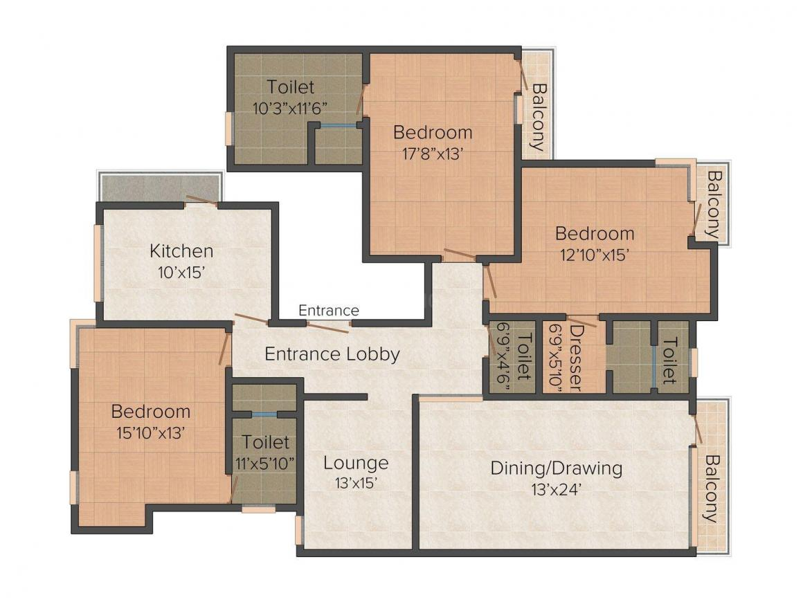 Czar Home 1 Floor Plan: 3 BHK Unit with Built up area of 2018 sq.ft 1