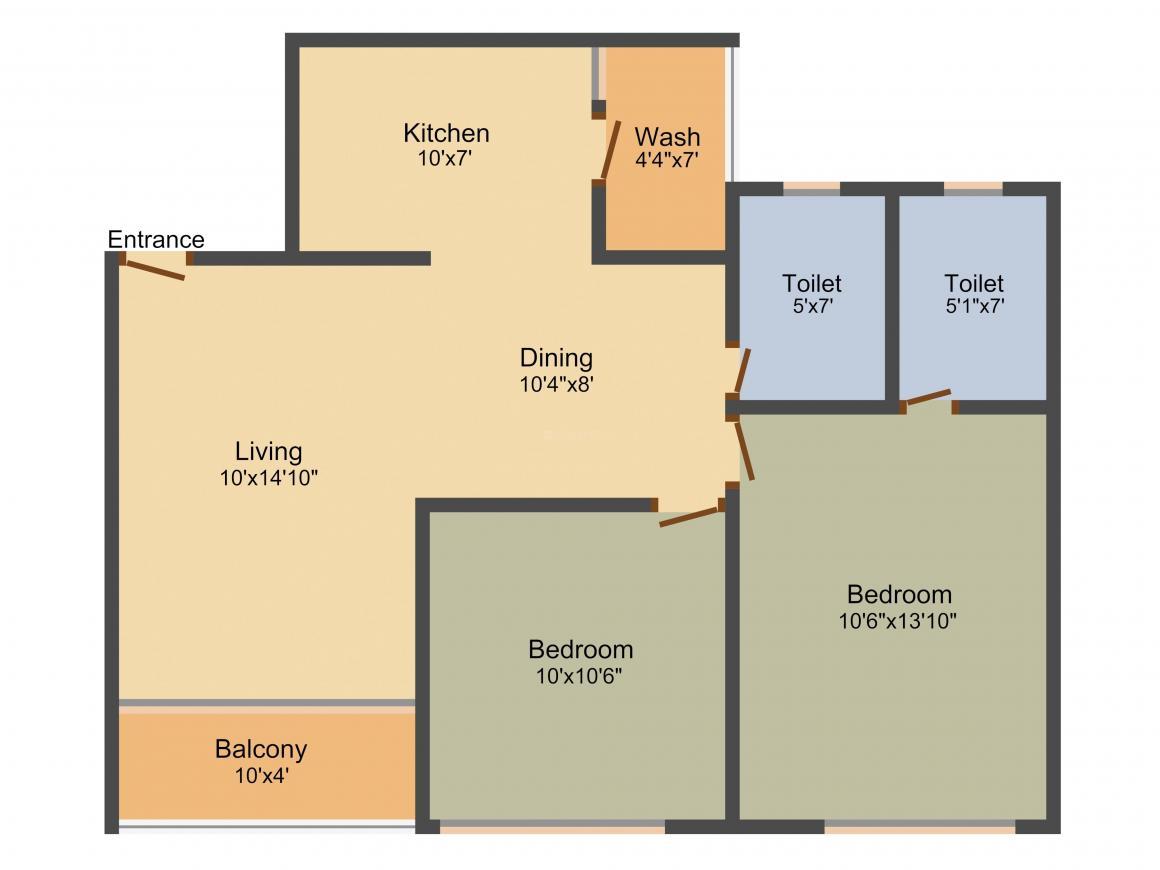 Sammet Platinum Floor Plan: 2 BHK Unit with Built up area of 1265 sq.ft 1