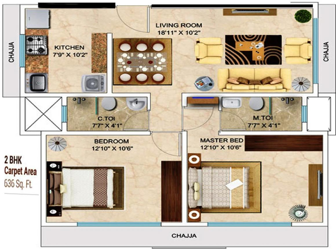 MICL Aaradhya Saphalya Floor Plan: 2 BHK Unit with Built up area of 636 sq.ft 1