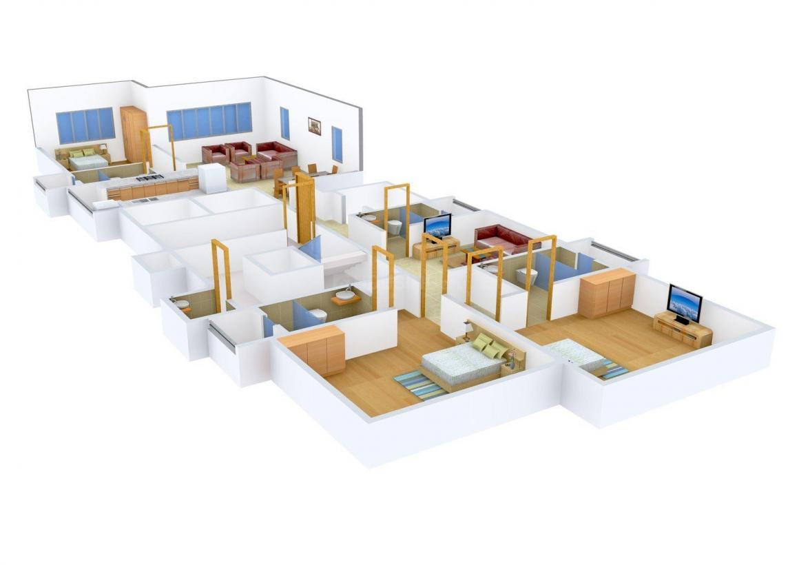 Ekta Eudora Floor Plan: 4 BHK Unit with Built up area of 1745 sq.ft 1