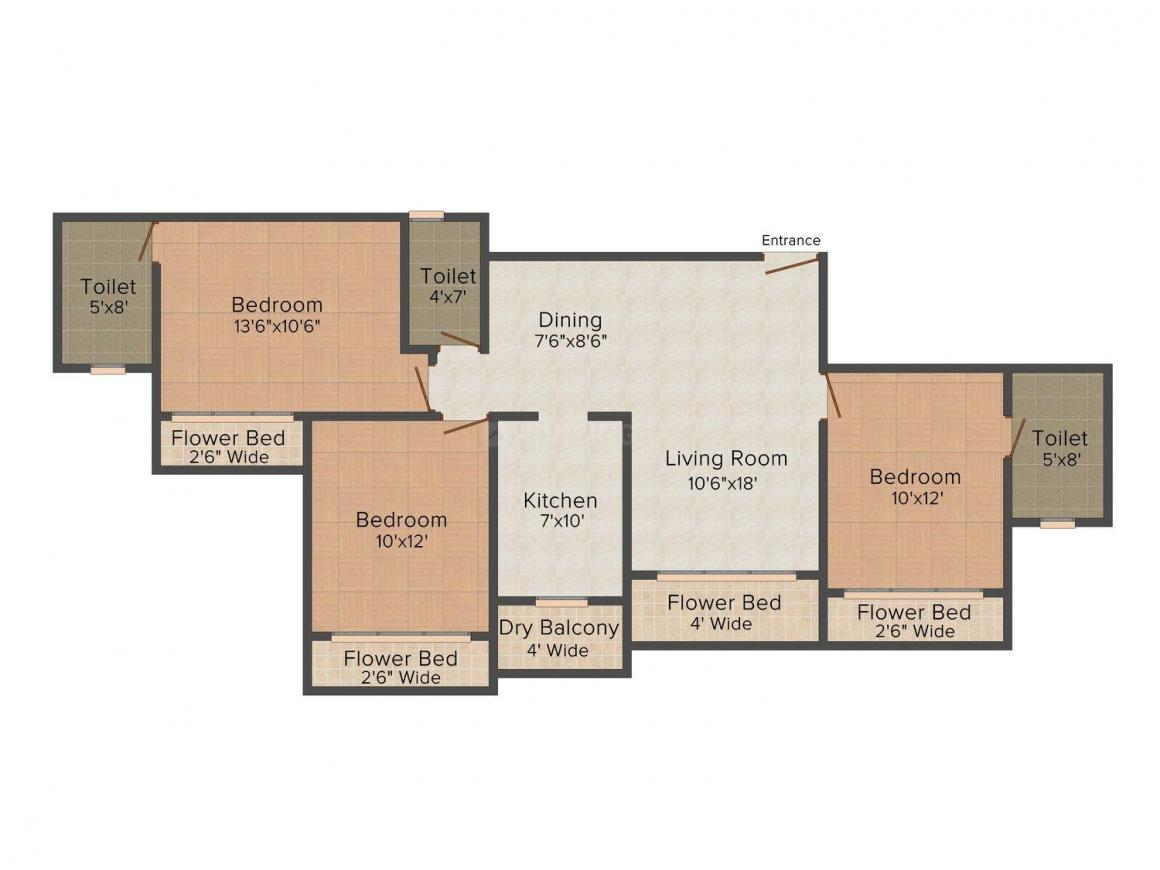 Floor Plan Image of 614 - 818 Sq.ft 2 BHK Apartment for buy in Neumec Eastwood