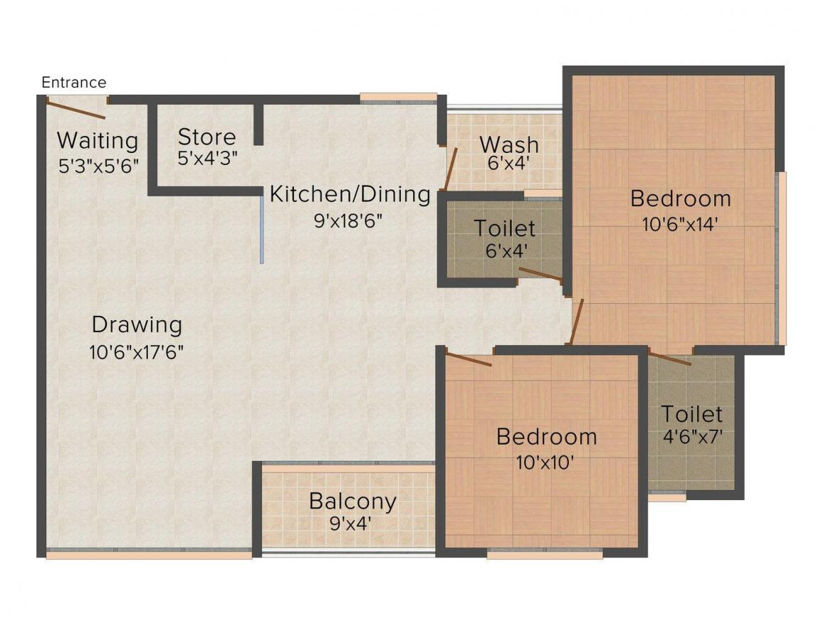Floor Plan Image of 1395.0 - 1755.0 Sq.ft 2 BHK Apartment for buy in Dharmaja Shivesh 182