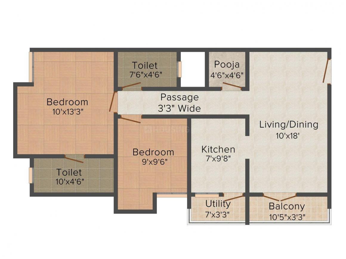 Floor Plan Image of 956 - 1323 Sq.ft 2 BHK Apartment for buy in Trisquare Felicity