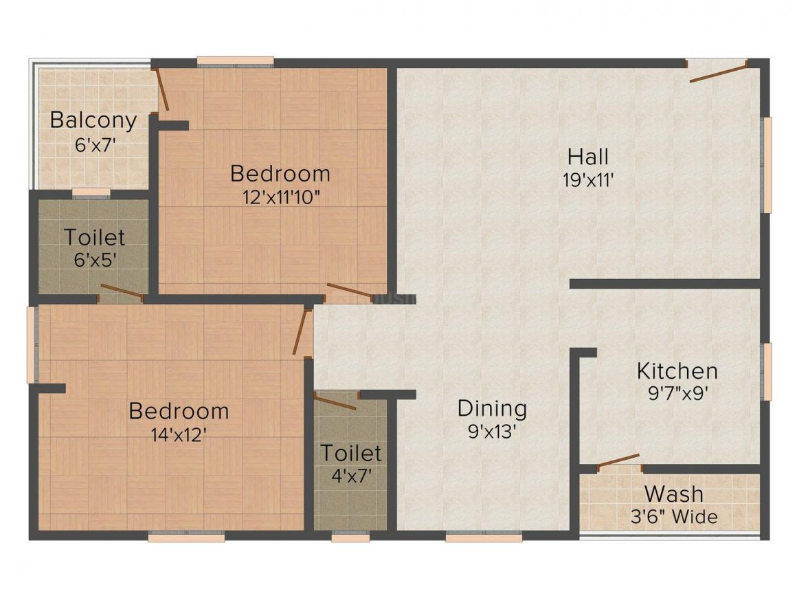 Sai Balaji Classic Floor Plan: 2 BHK Unit with Built up area of 1200 sq.ft 1