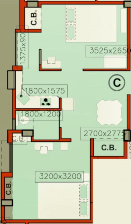 Arabinda Apartment Floor Plan: 2 BHK Unit with Built up area of 658 sq.ft 1