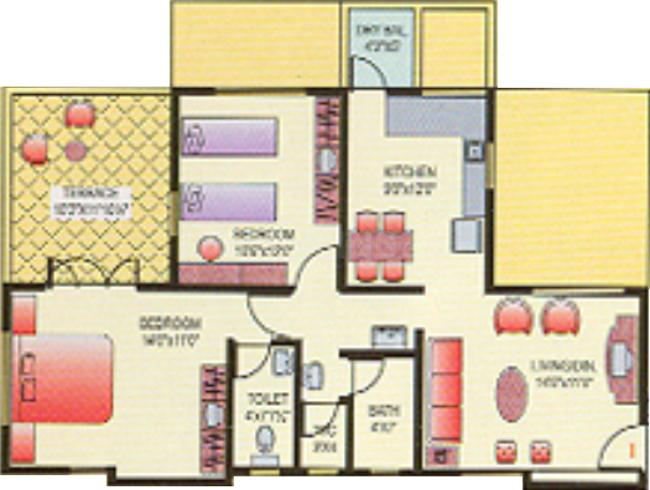 Dugad Manik Moti Floor Plan: 2 BHK Unit with Built up area of 972 sq.ft 1