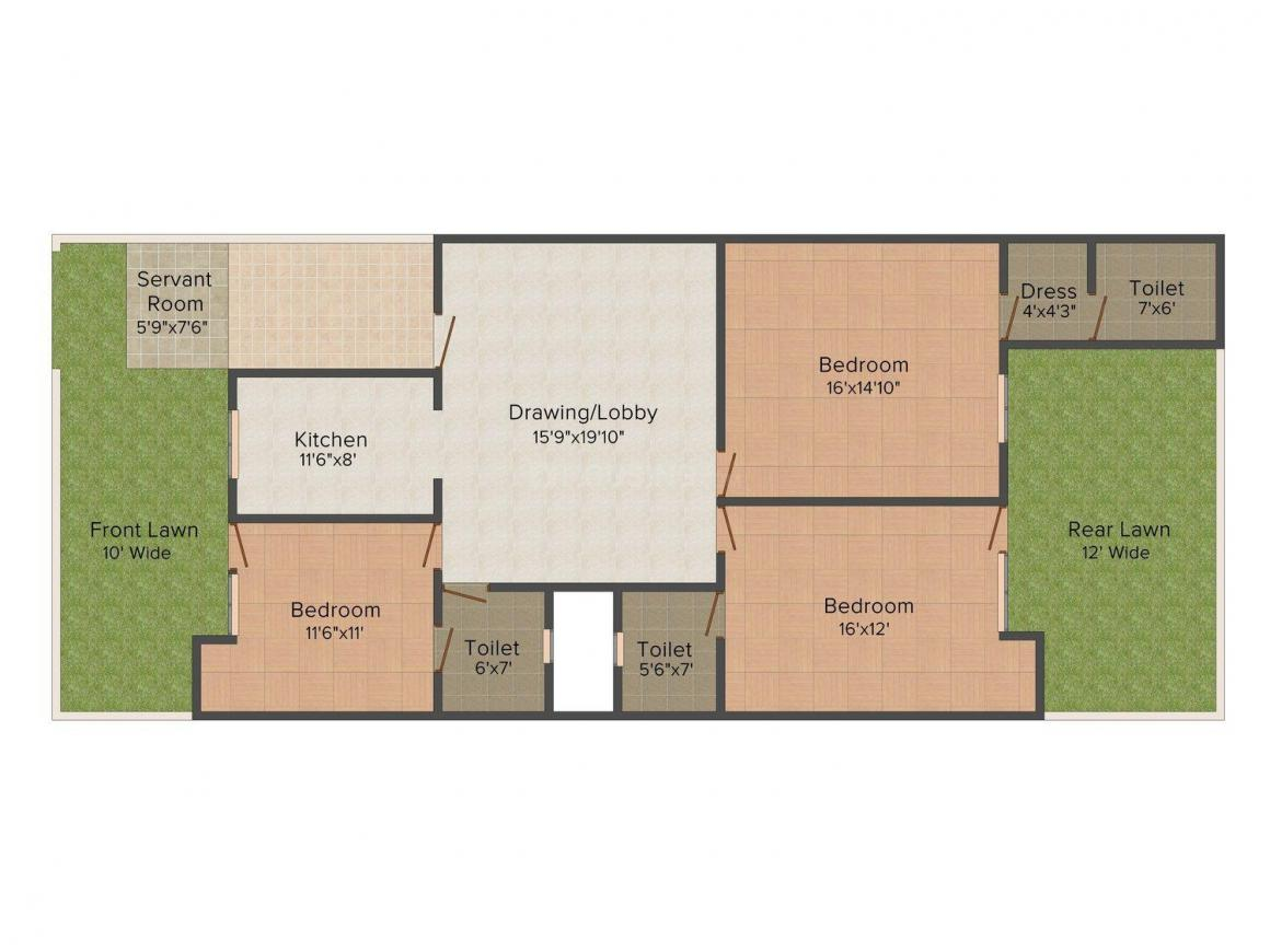 Bansal A 2106 Floor Plan: 3 BHK Unit with Built up area of 1800 sq.ft 1