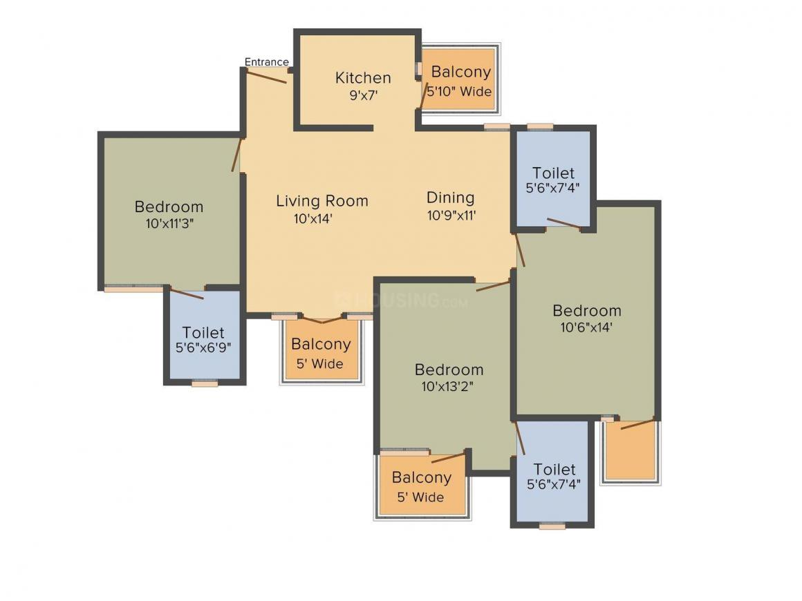 Property Street Mapsko Floor Plan: 3 BHK Unit with Built up area of 1430 sq.ft 1