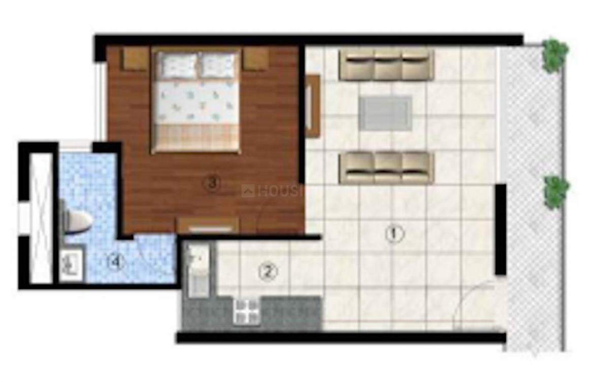Sikka Kingston Greens Floor Plan: 1 BHK Unit with Built up area of 384 sq.ft 1