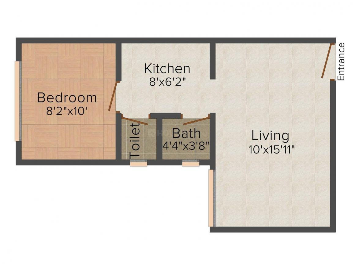 Square Arch Infra Square Garden Building II Floor Plan: 1 BHK Unit with Built up area of 480 sq.ft 1