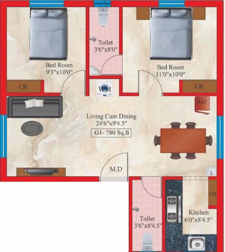 Four Sai Vandhanam Floor Plan: 2 BHK Unit with Built up area of 780 sq.ft 1
