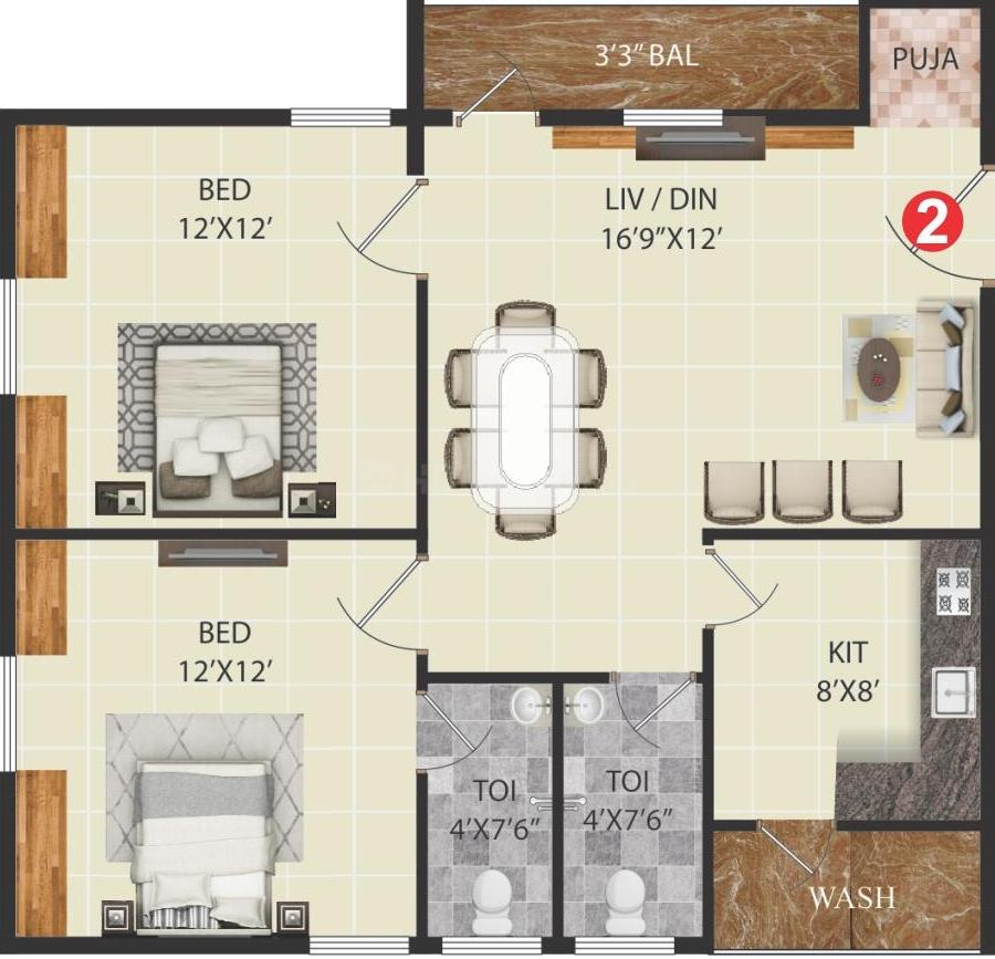 Floor Plan Image of 1030.0 - 1450.0 Sq.ft 2 BHK Apartment for buy in  Sri Sai Raghavendra