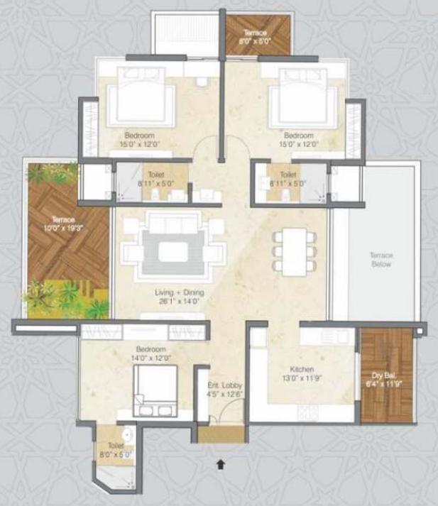 Pride Purple Park Grandeur Floor Plan: 3 BHK Unit with Built up area of 2175 sq.ft 1
