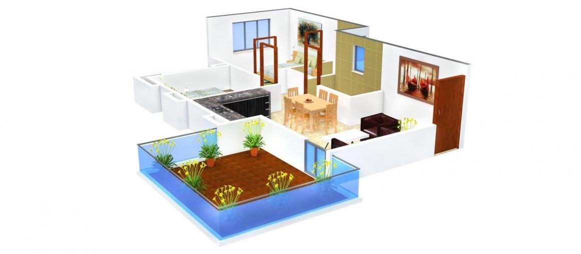 Khivansara Shubham Terracess Floor Plan: 2 BHK Unit with Built up area of 967 sq.ft 1