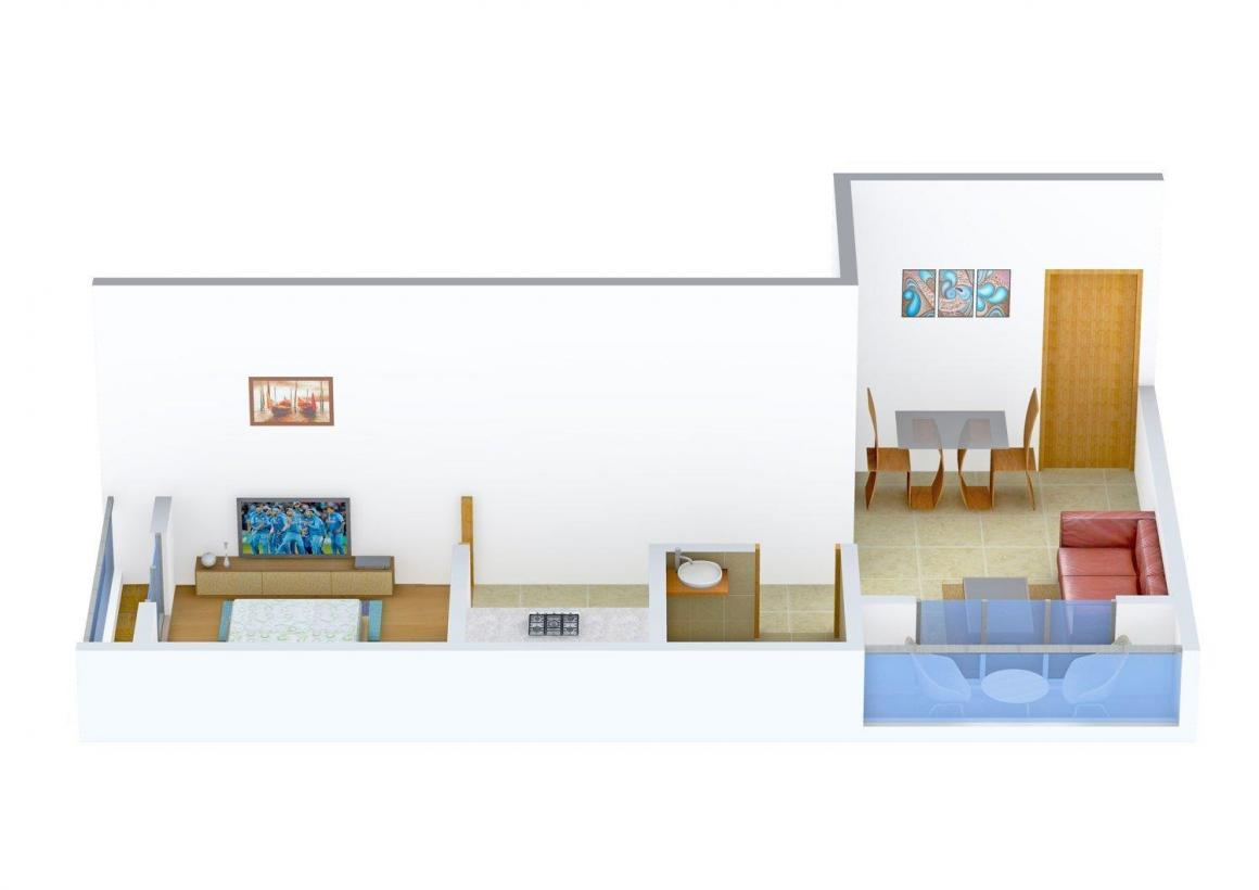 Floor Plan Image of 475 - 1175 Sq.ft 1 BHK Apartment for buy in Shelter 99 Krishnakunj