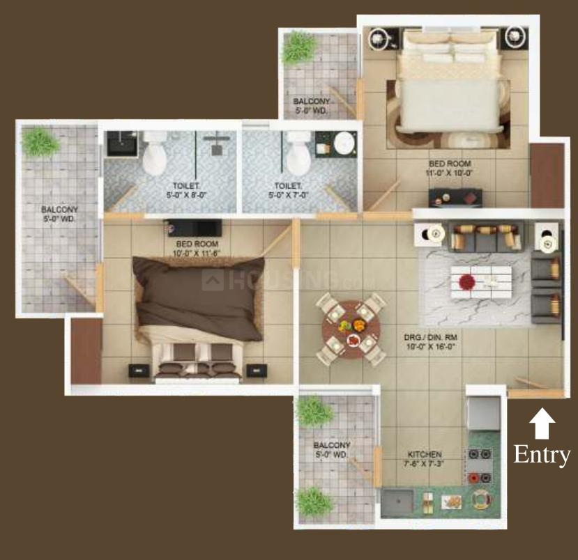 Charms Castle Floor Plan: 2 BHK Unit with Built up area of 553 sq.ft 1